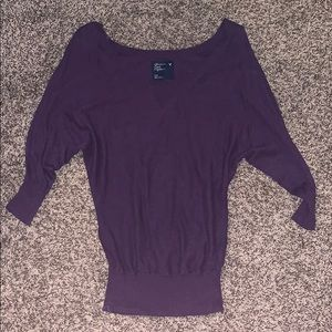 American Eagle 🦅 purple 3/4 sleeve sweater